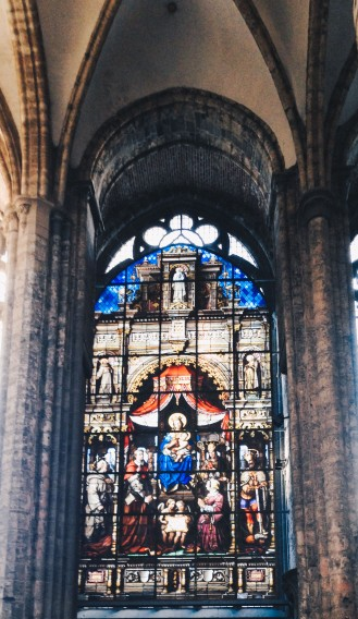 Stained glass of Saint Nicholas' Church in Ghent