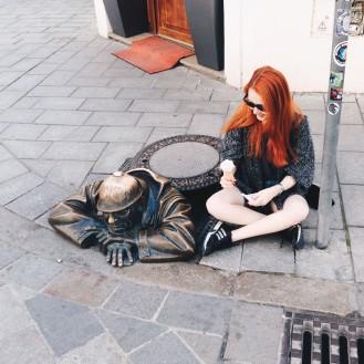 Man in a manhole in Bratislava